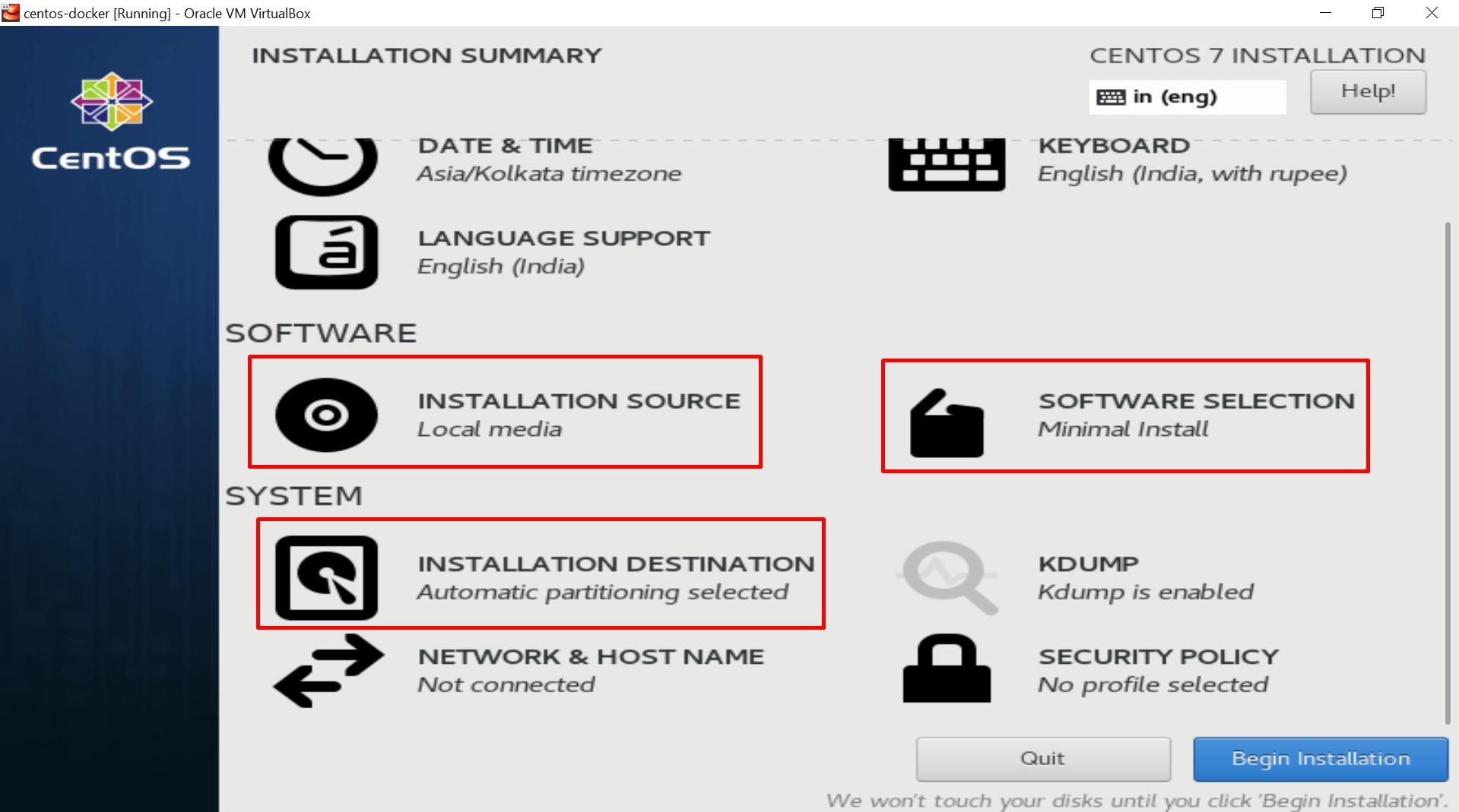 options to set during centos installation in virtualbox