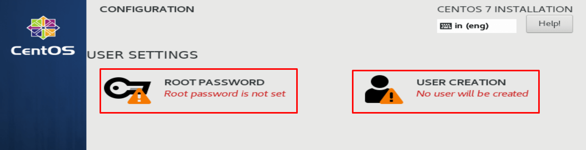 set root password and create user during centos installation