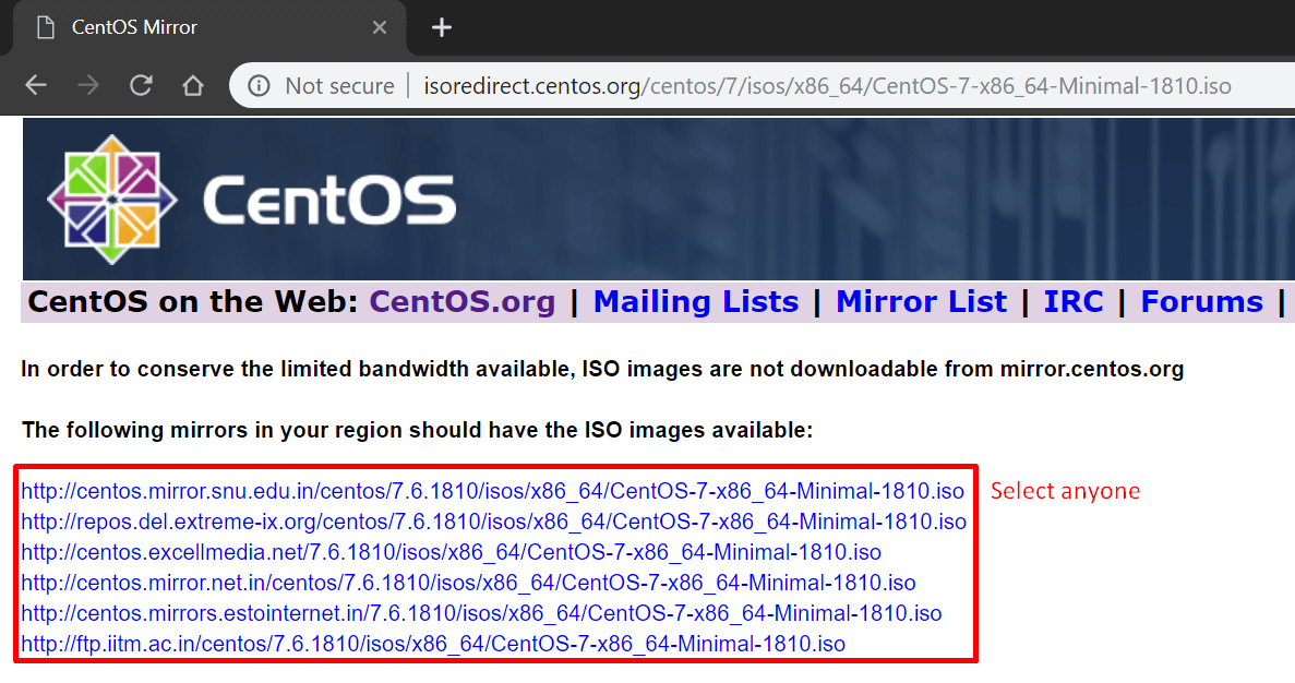 download centos minimal iso from available mirrors