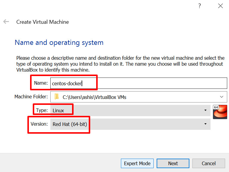 name a new virtual machine in virtualbox