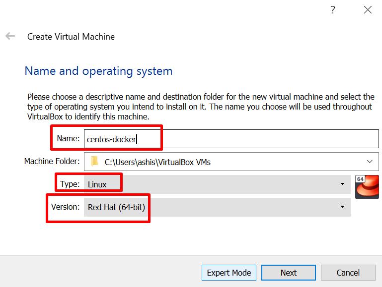 name a new virtual machine in virtualbox