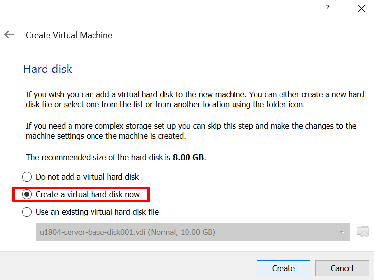 select type of hard disk for a virtual machine in virtualbox