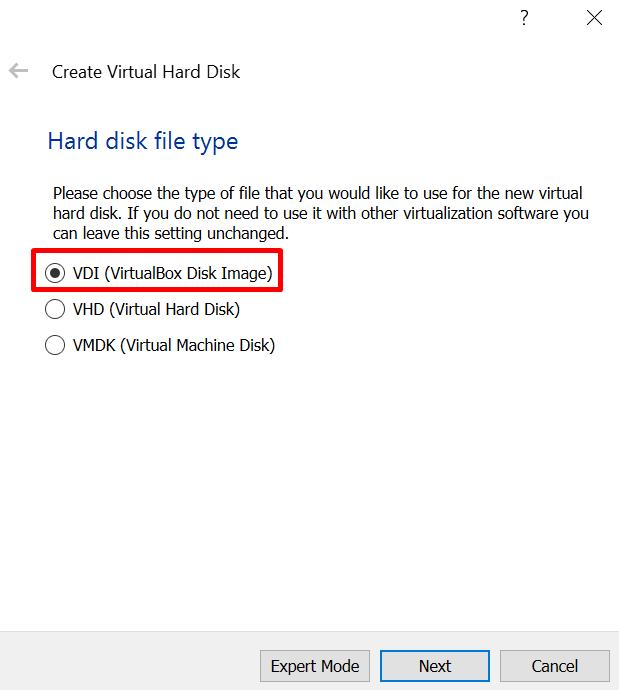 hard disk option for virtual machine in virtualbox