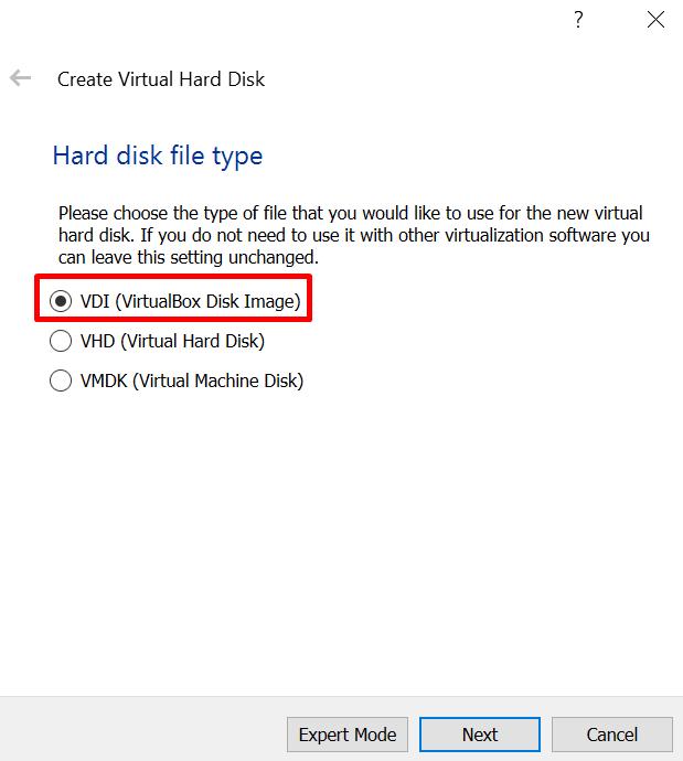 hard disk option for virtual machine in virtualbox