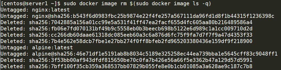 Remove all docker images at once with one command