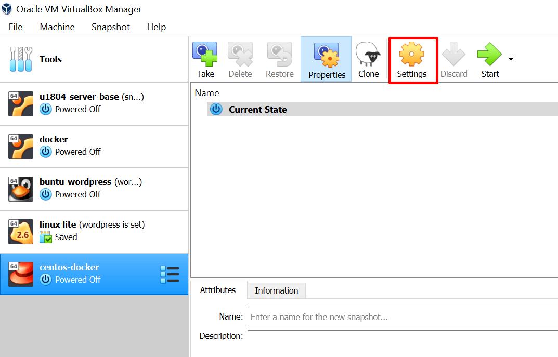 edit settings of a virtual machine in virtualbox