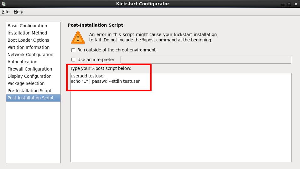 kickstart configurator post installation script