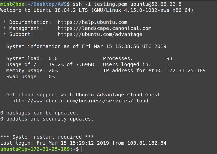 login into aws ec2 ubuntu 18.04 instance