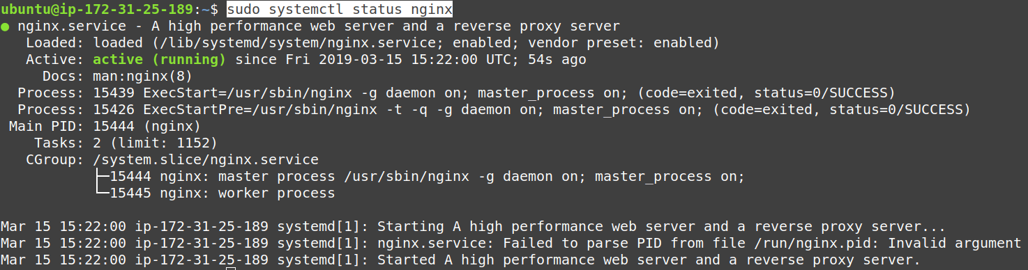 Check whether Nginx is running or not on EC2 Ubuntu 18.04