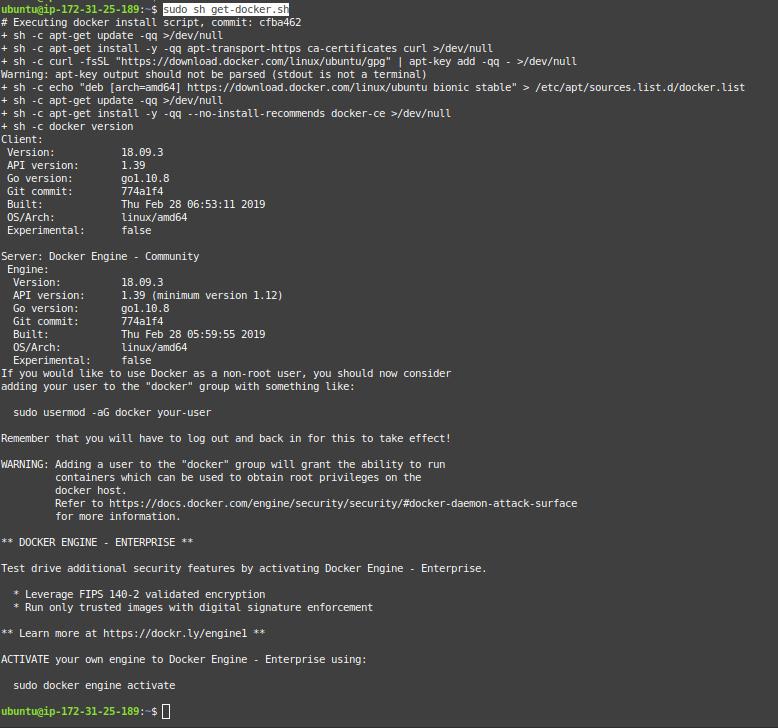 Execute get-docker.sh script