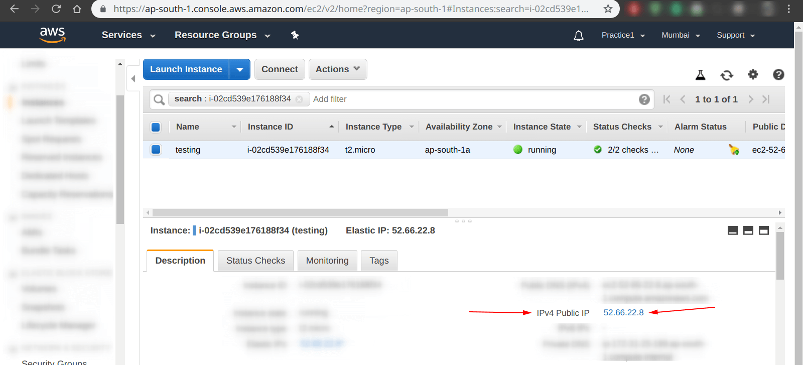 Check IP address of an instance in aws ec2 dashboard