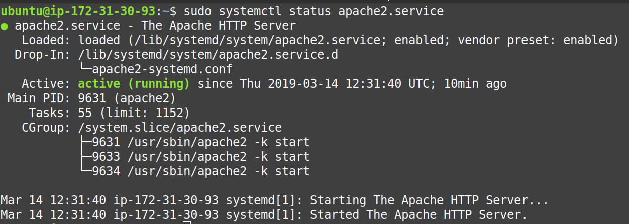 check whether apache2 is working or not on ec2 ubuntu