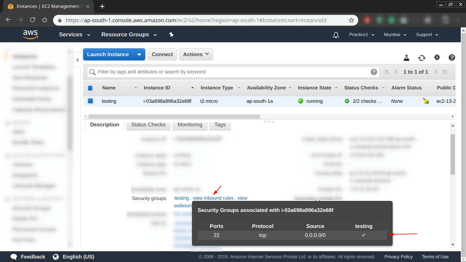 view inbound rules of an instance from ec2 dashboard