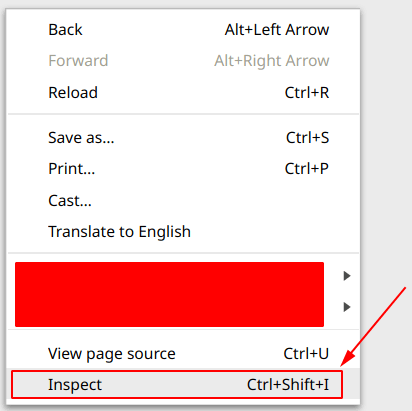 shortcut for inspect element in chrome