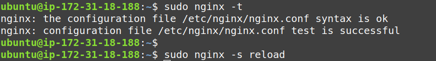 check the syntax and reload nginx server