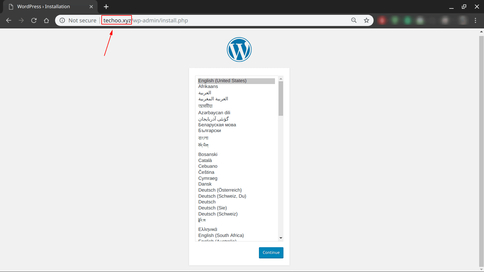 wordpress initial installation page