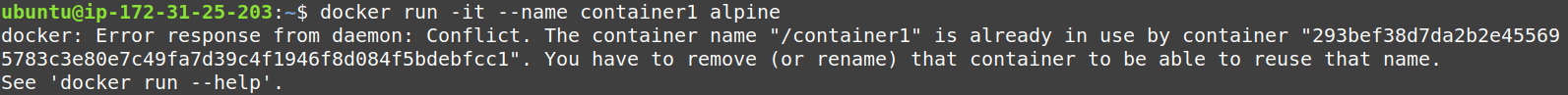 We can not create a new container with previously used name