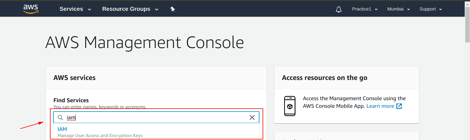 Select IAM service from AWS dashboard