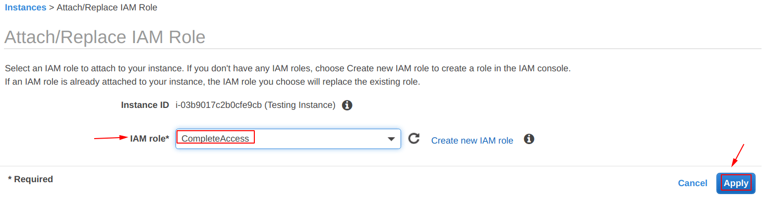 Select the IAM role and apply