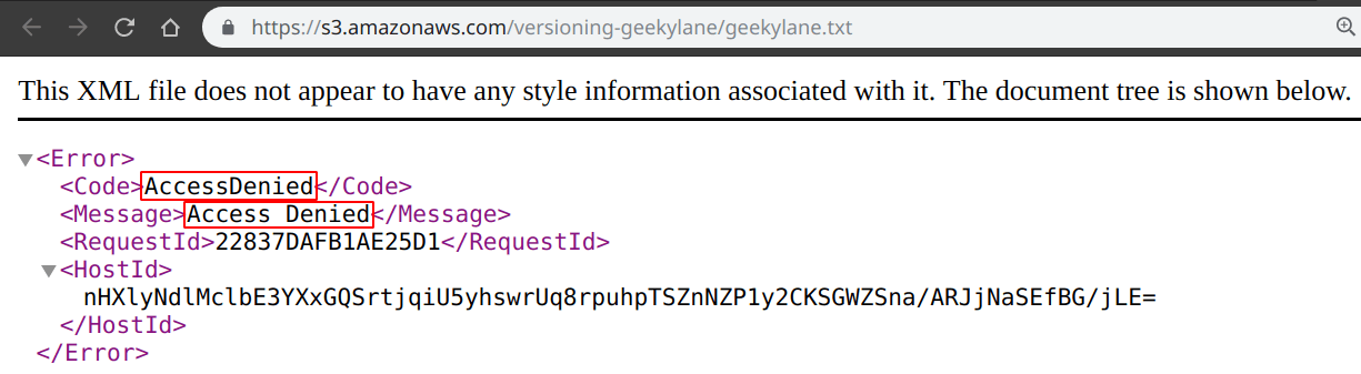 Unable to access the updated geekylane txt file showing access denied