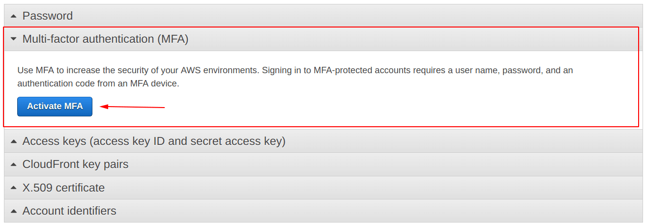 Click on Activate MFA
