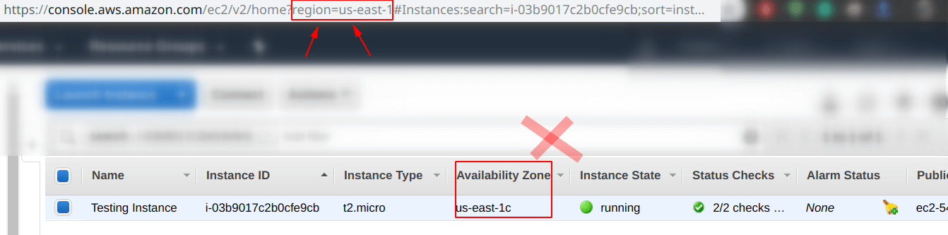 Look for the region of your EC2 instance