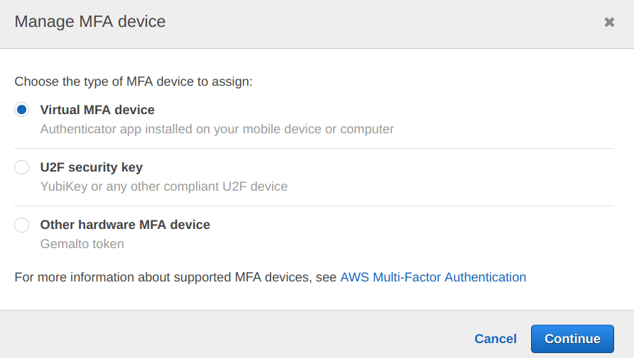 Out of 3 options availabel select Virtual MFA device