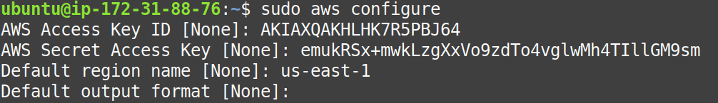 Run aws configure