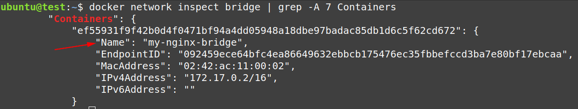 Check the configuration of docker0 bridge network