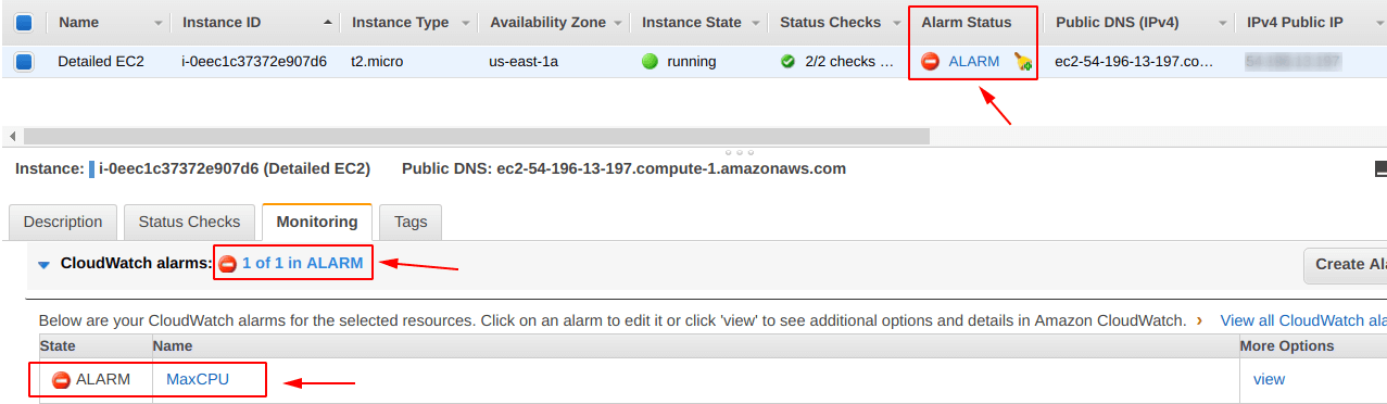Alarm being shown in EC2 dashboard Monitoring for EC2 Instance