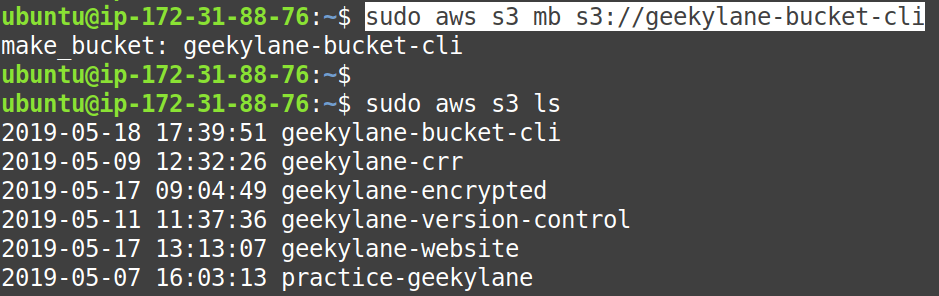 Create an S3 bucket using awscli