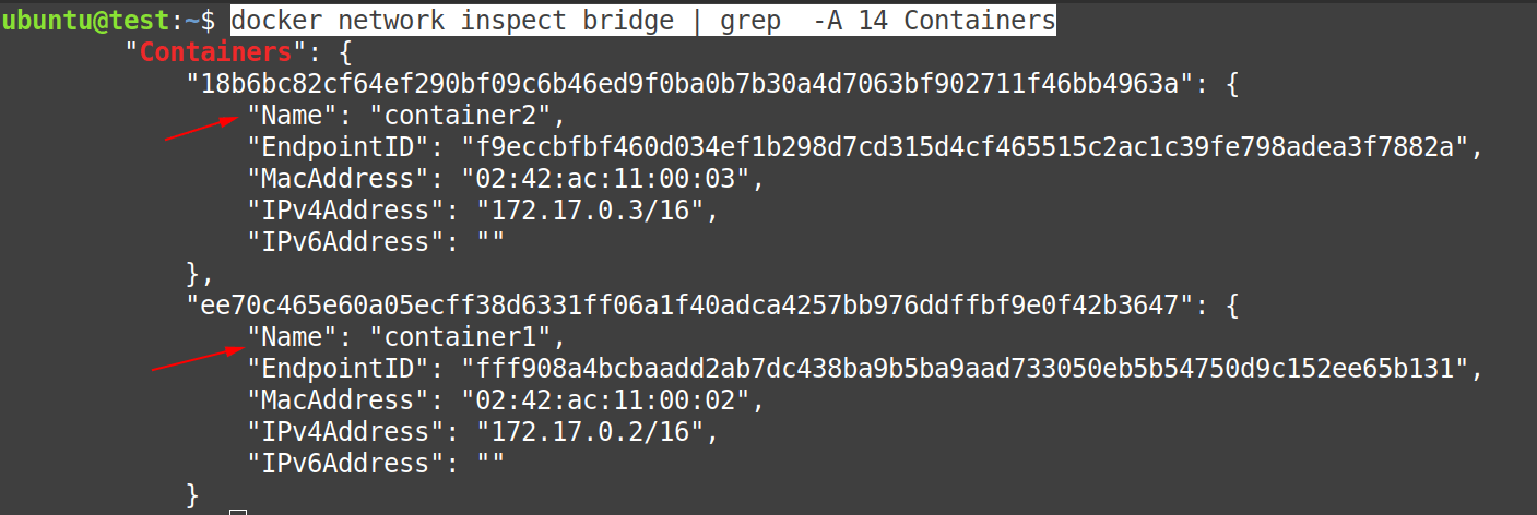 Now check the configuration of docker0 bridge network