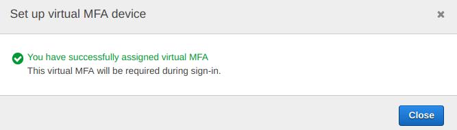 MFA is successfully setup on IAM aws