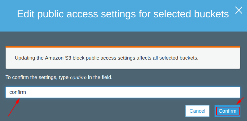 Confirm the public access change for a S3 bucket
