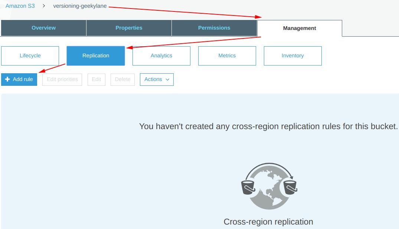 Add a cross region replication rule