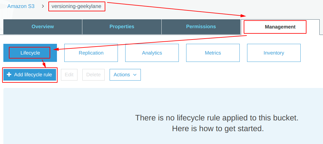 Click on Add lifecycle rule