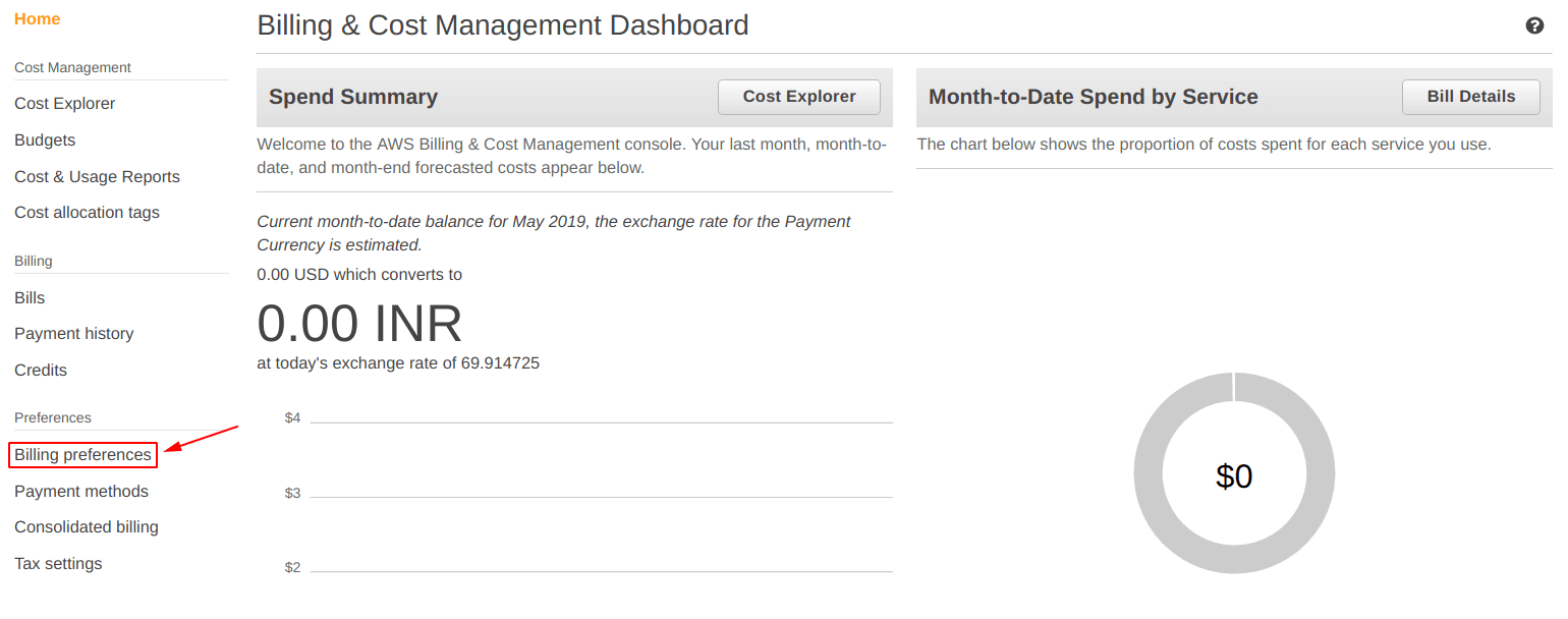 Select billing from billing and cost management dashboard on aws