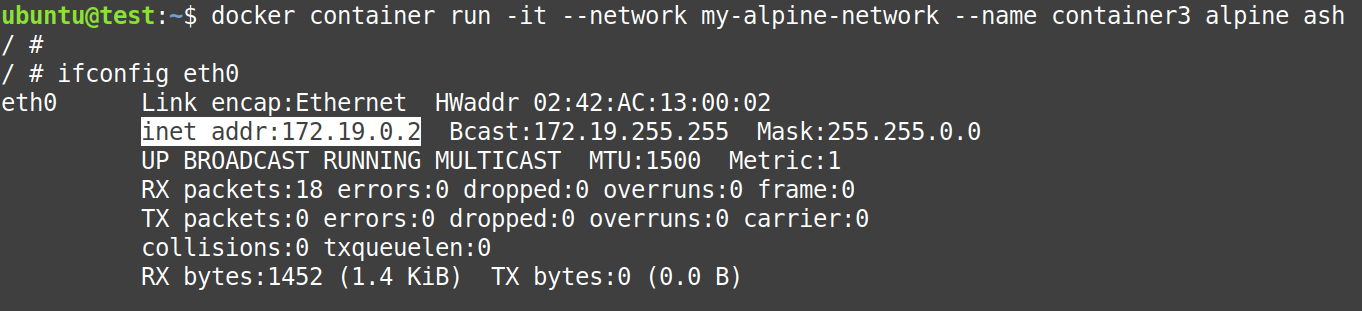 Create container3 and attach it to my-alpine-network