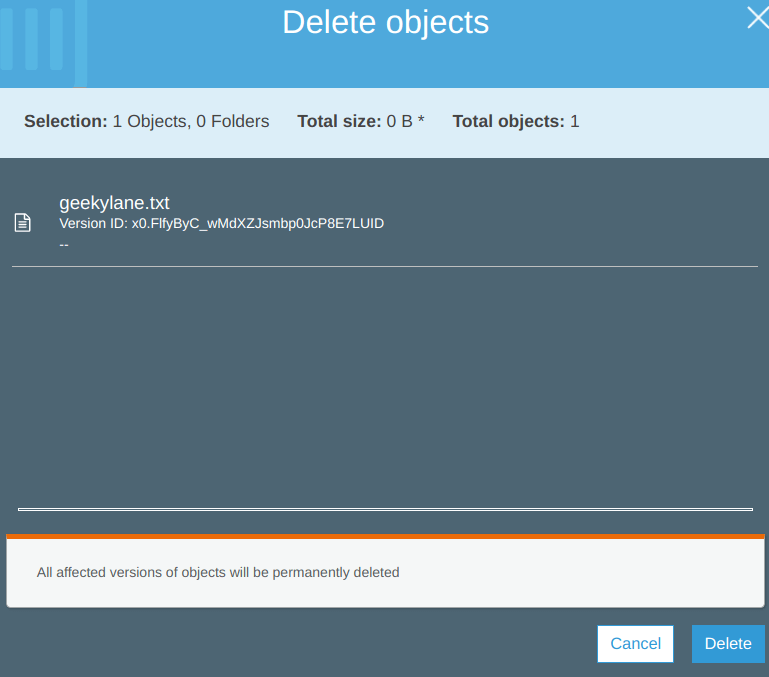 confirmation of deletion of delete marker