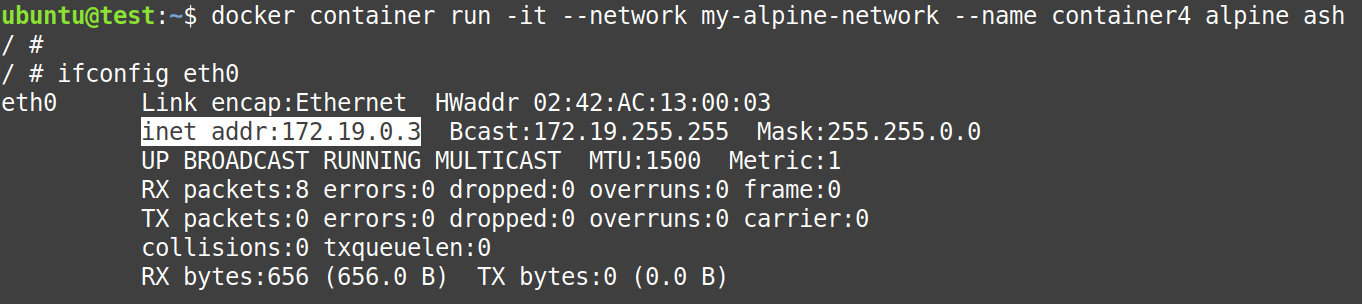 Create container4 and attach it to my-alpine-network