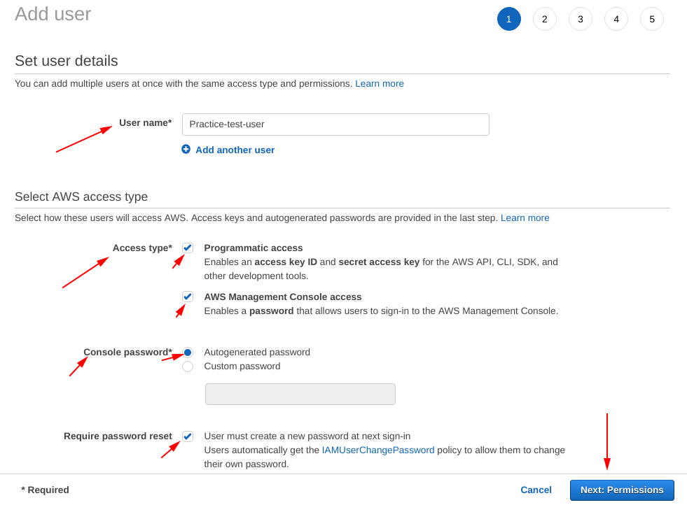 Set user details for a IAM user on aws