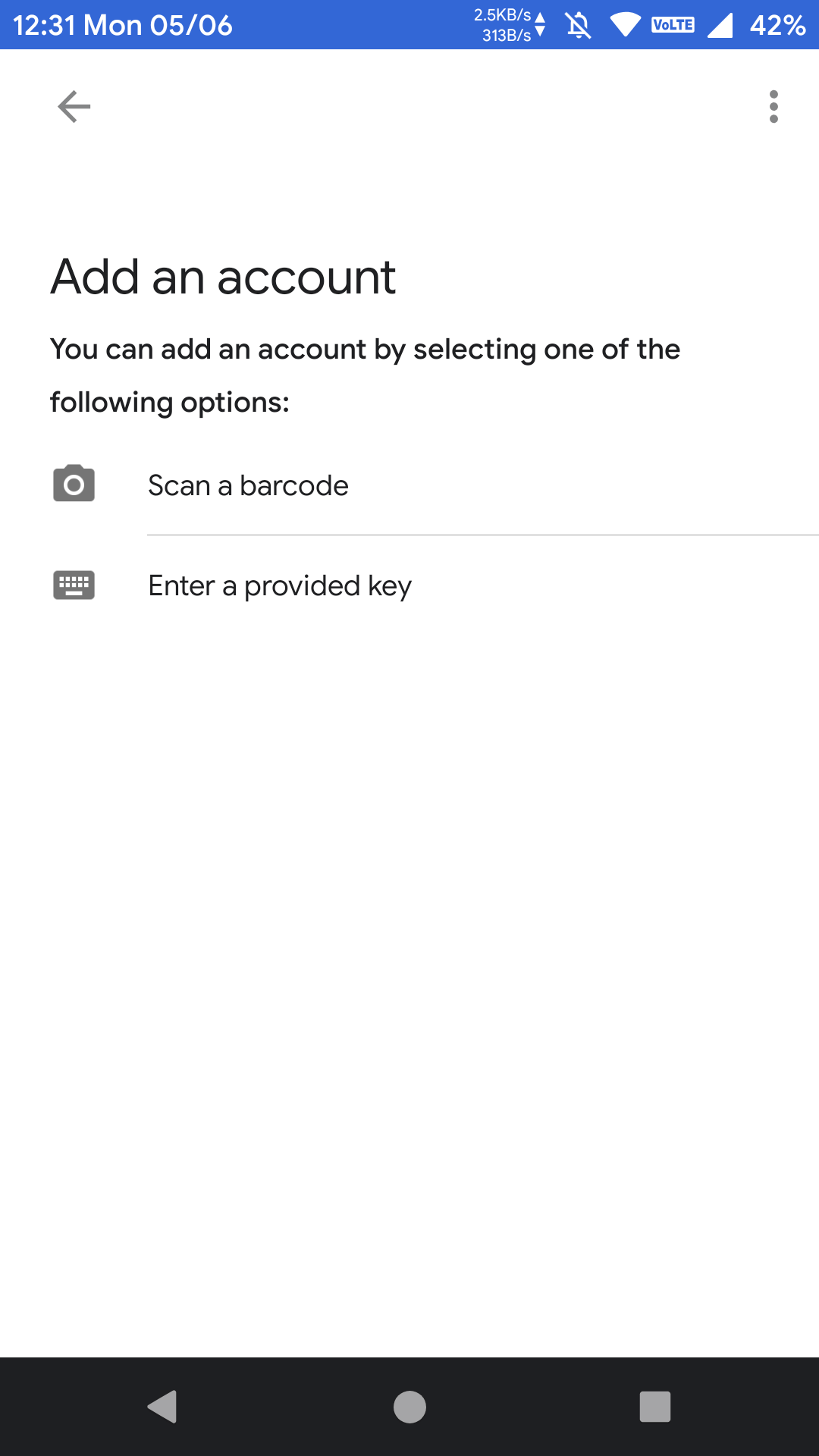 Add an account on google authenticator