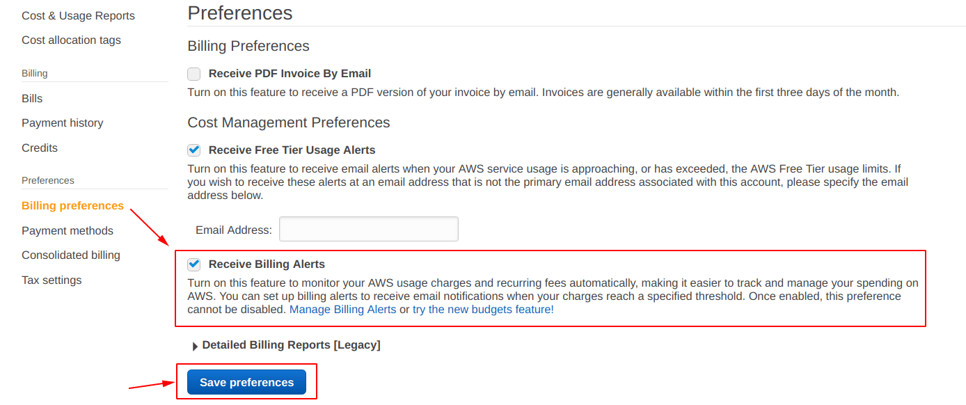 Check the box for Receive Billing Alerts and hit Save preferences