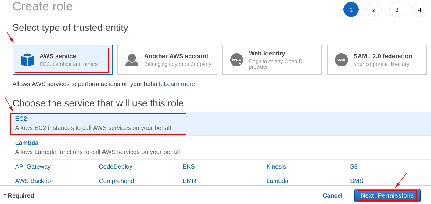 Select the service for the IAM role
