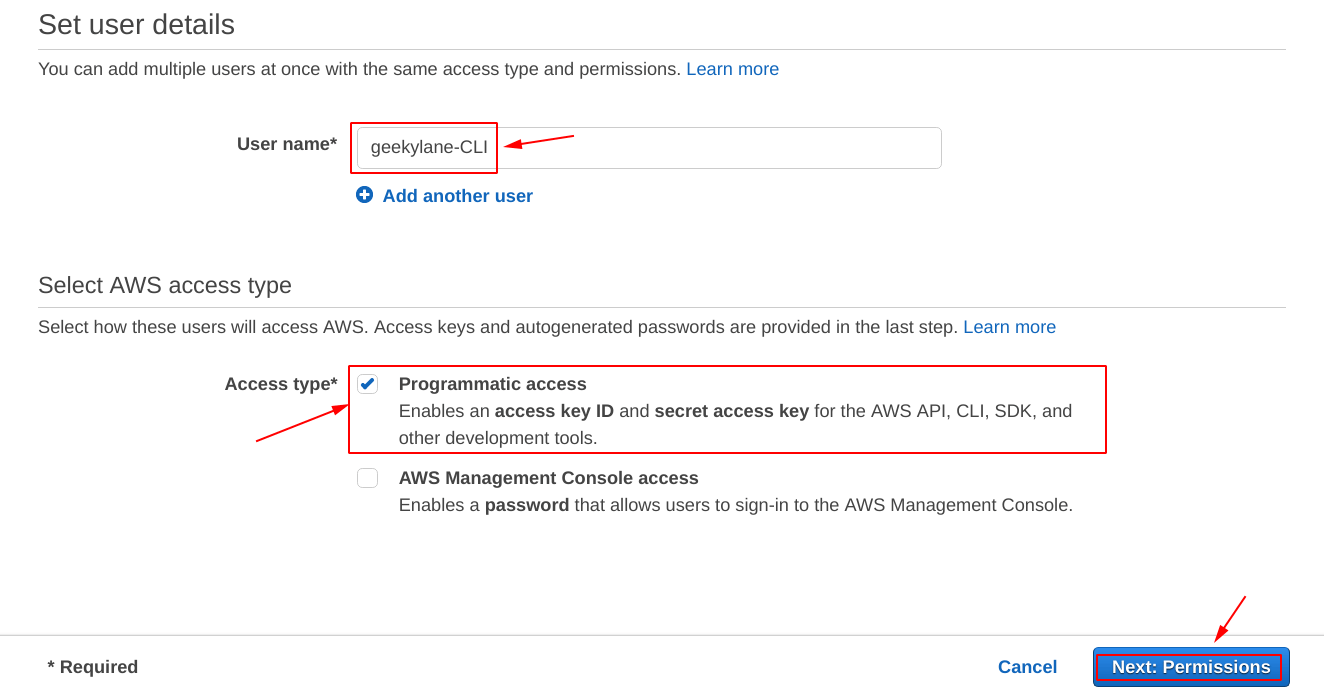 Specify the username and Access type