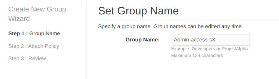 Set group name for IAM users