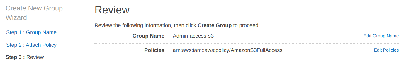 Review group name for IAM users