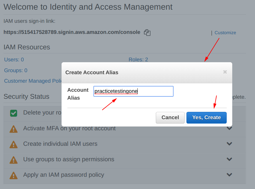 Give an alias name to the IAM users sign-in link on aws