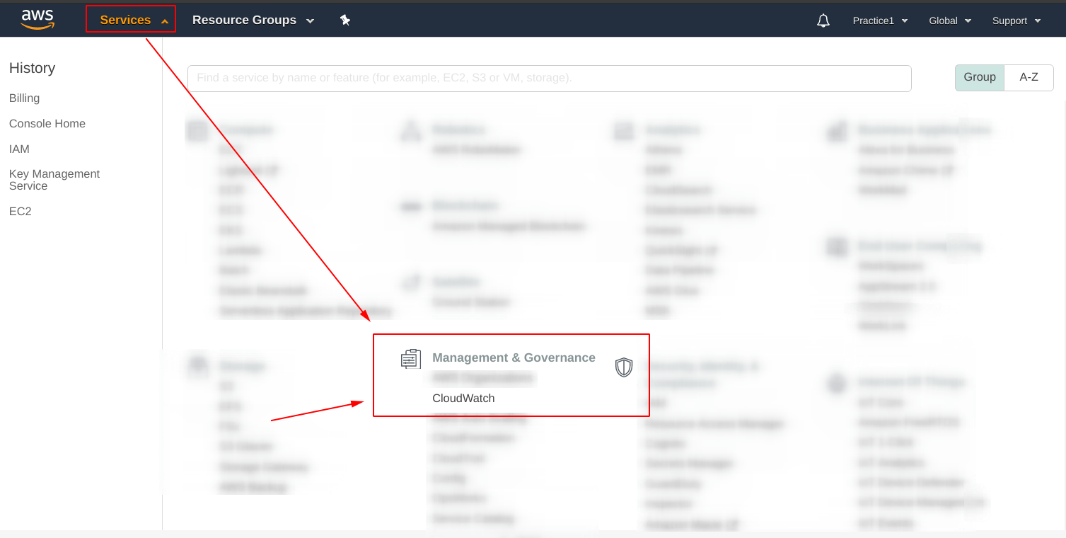 Select the cloudwatch service under management and governance
