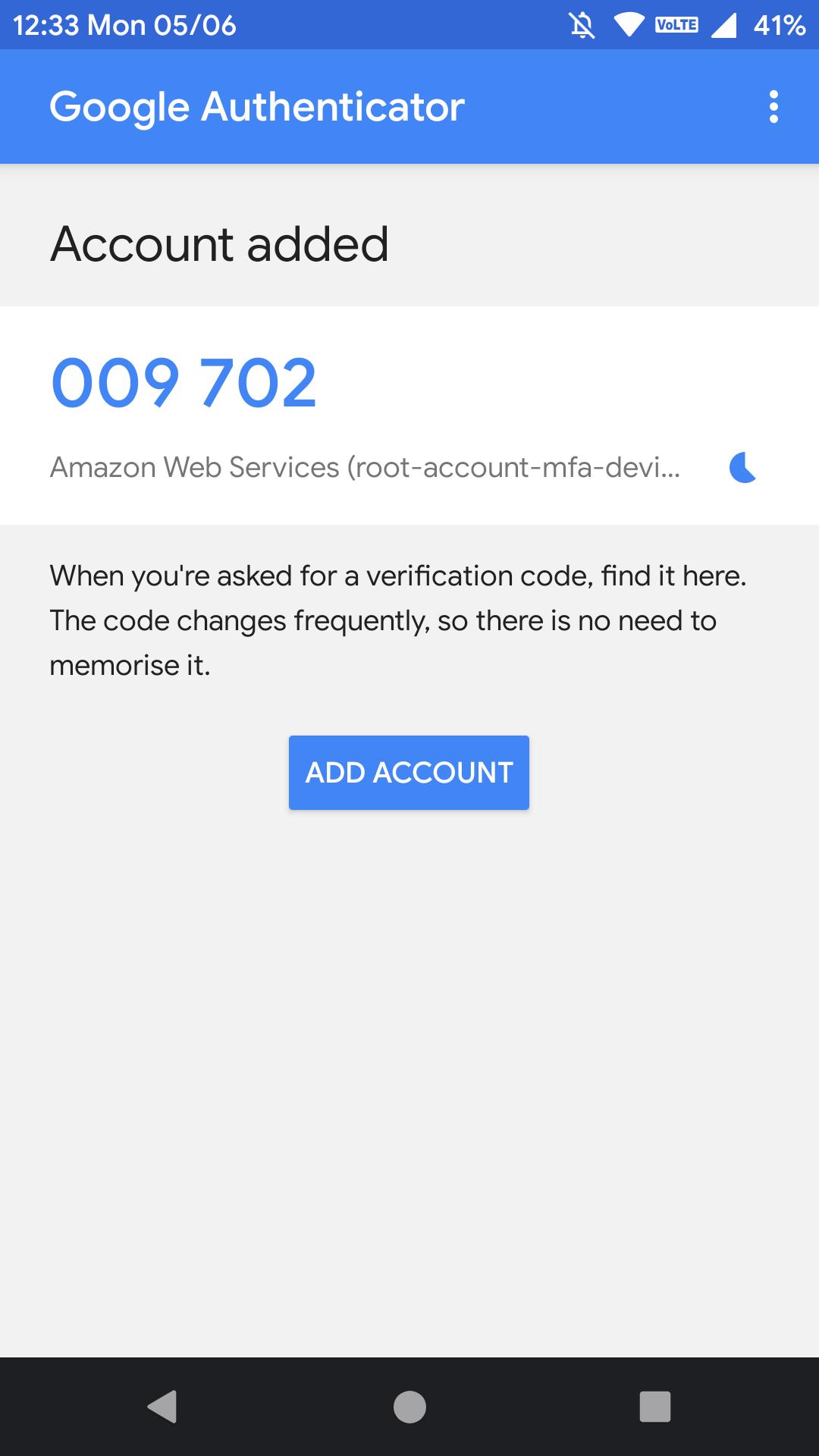 Google authenticator second code